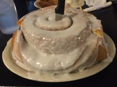 Lulu's Bakery & Cafe in San Antonio, TX How about a Texas-size Cinnamon Roll? It is 3 pounds!!!   Big Burgers, Big Chicken Fried Steaks and Chicken Fried Chicken Texas style! You can't miss it! #SanAntonio
