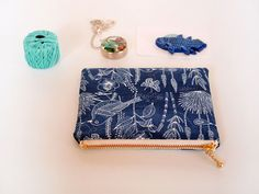 Navy zipper bag small cosmetic pouch navy coin purse