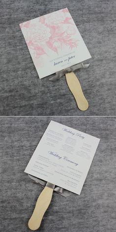 DIY-Wedding Fan Programs Template with Rose Design