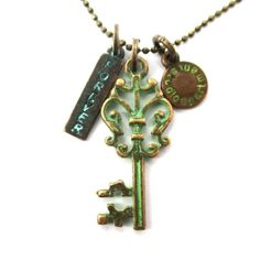 Vintage Skeleton Key and Forever Charm Necklace in Brass   DOTOLY