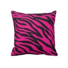 Trendy Hot Pink Fuchsia Black Zebra Stripes Print Pillow
