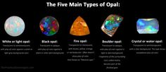 Visual guide to the Five Main Types of Opal White or light opal: Translucent to semitranslucent, with play-of-color against a white or light gray background color. Black opal: Translucent to opaque, with play-of-color against a black or other dark. Easy Hobbies, Hobbies To Take Up, Hobbies For Couples, Hobbies For Women, Hobbies That Make Money, Great Hobbies, How To Make Money, Hobby Lobby Sales, Couple Activities