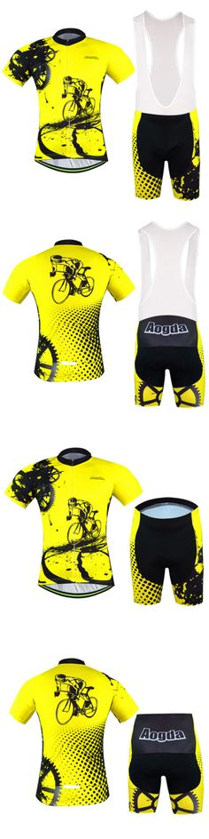 Jersey and Pant Short Sets 177852: Bike Rider Mens Cycling Clothing Suit Bicycle Jersey +(Bib) Short Set Yellow -> BUY IT NOW ONLY: $33.29 on eBay!