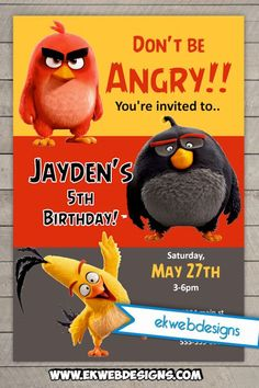 Angry Birds Movie Custom Birthday Invitations