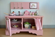 Play Kitchen courtesy of ohdeedoh. Made from a repurposed piece of furniture rockprettybaby Play Kitchen courtesy of ohdeedoh. Made from a repurposed piece of furniture Play Kitchen courtesy of ohdeedoh. Made from a repurposed piece of furniture Play Kitchens, Play Kitchen Diy, Kitchen Ideas, Wooden Kitchen, Kitchen Design, Recycled Kitchen, Kitchen Post, Kitchen White, Kitchen Small