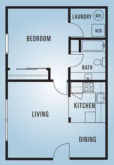 609 Anderson - One Bedroom E - 600 Square Feet . 609 Anderson - One Bedroom E - 600 Square Feet Mo One Bedroom House Plans, 1 Bedroom House, Small House Floor Plans, Basement House Plans, Cabin Floor Plans, Bedroom Floor Plans, Basement Stairs, House Bath, Basement Bedrooms