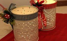 Come fare centrotavola di Natale con barattoli riciclati