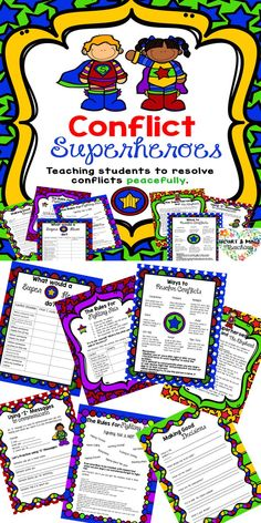 7pages of practice for students to learn how to resolve their own conflicts. Perfect for classroom conflict meditation and small group counseling. Learning to use I messages, resolving conflicts peacefully, fighting fair, making good decisions. SEL social emotional learning, peer mediation counseling for school counselors. (scheduled via http://www.tailwindapp.com?utm_source=pinterest&utm_medium=twpin)