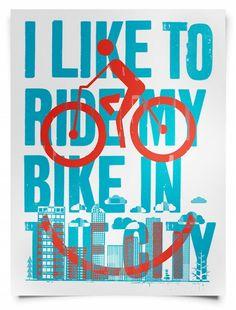 I like to ride my bike in the city.