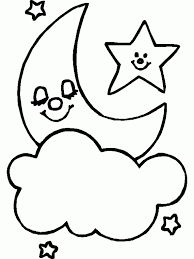 месяц со звездой Easy Drawings For Kids, Drawing For Kids, Art For Kids, Easy Coloring Pages, Coloring Pages For Kids, Coloring Books, Applique Templates, Applique Patterns, Baby Embroidery