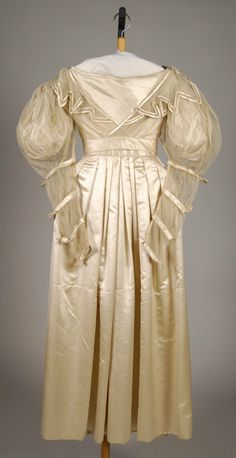 Wedding Dress: ca. 1830, American, silk.