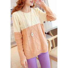 Sweet Style Scoop Neck Splicing Argyle Pattern Long Sleeve Sweater For Women