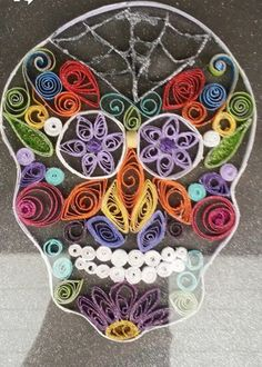 "Quilled ""Day of the Dead"" skull"