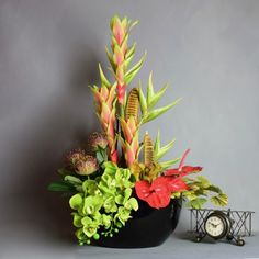 Tropical Flower Display with Venus Fly Trap Orchid Arrangements, Artificial Flower Arrangements, Indoor Flowers, Tropical Flowers, Artificial Silk Flowers, Artificial Plants, Flower Arrangement Designs, Fly Traps, Tropical Design