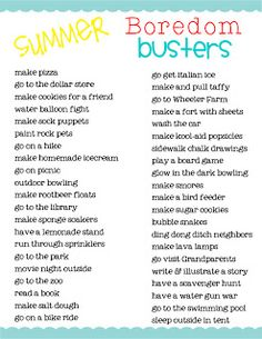 Have the kids ALREADY said they're bored? Print this list out and stick it to the fridge, says HowToConsign.com... and jump into the next adventure with them!