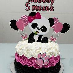 Panda Birthday Cake, Happy Birthday Cupcakes, Birthday Cake Toppers, Bolo Panda, Panda Cakes, Pastel Cakes, Panda Party, Fake Cake, Baby Shower Princess