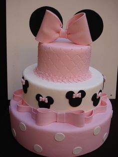 New Birthday Cake Fondant Ideas Minnie Mouse Ideas Minni Mouse Cake, Bolo Da Minnie Mouse, Minnie Mouse Birthday Cakes, Minnie Cake, Mickey Cakes, Minnie Mouse Baby Shower, Cake Birthday, Minie Mouse Party, Mickey Mouse