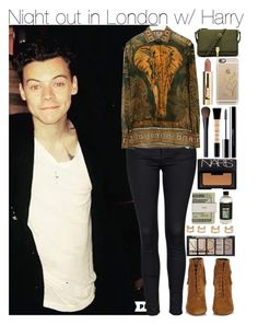 """""""Night out in London w/ Harry"""" by your-fashion-lover ❤ liked on Polyvore featuring Yves Saint Laurent, Topshop, Valentino, Elizabeth and James, Casetify, H&M, Maison Margiela, shu uemura, Smashbox and NARS Cosmetics"""