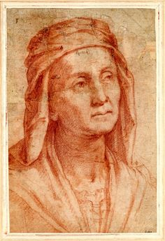 Head of an old woman, turned slightly to r, wearing a head-covering Red chalk