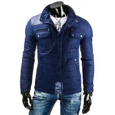 Tmavě modré pánské přechodné bundy s koženými nášivkami - manozo.cz Winter Jackets, Leather Jacket, Fashion, Manish, Studded Leather Jacket, Moda, Fashion Styles, Leather Jackets, Fashion Illustrations