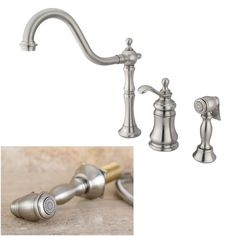 Update your kitchen with this classic faucet constructed of solid brass. This Templeton kitchen faucet has a satin nickel finish and a single-lever handle.