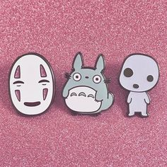 The three pins that started it all Running low on all of my Ghibli pins, check out the glow Kodama and glitter No-Face variants! ✨ candycorpse.net