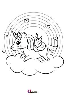 Rainbow and unicorn with cloud coloring pages - BubaKids.com