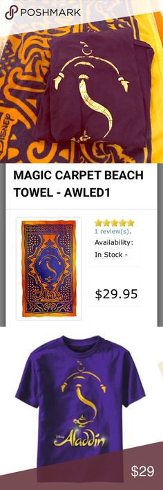 Disney Aladdin on Broadway bundle: towel and tee Gently used and thoroughly cleaned. Both purchased at the Broadway show, a >$50 value. Limited addition shirt is no longer sold- adult L. Towel is 34x64 inches and 100% cotton. Disney Other