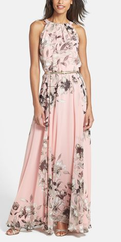 Toughening up this romantic pink and gold floral-print chiffon maxi dress with a leather jacket for a laid-back, trendy vibe.