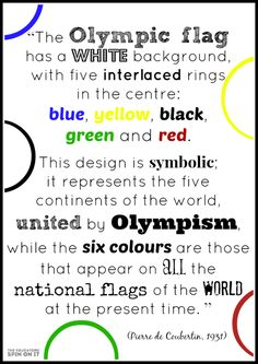 Symbols of the Olympic flag and their Olympic Rings Colors. Includes Activities for kids with olympic theme. Olympic Flag, Olympic Idea, Olympic Sports, Olympic Gymnastics, Gymnastics Quotes, Olympic Games For Kids, Olympic Colors, Kids Olympics, 2018 Winter Olympics