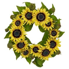 "22"" Sunflower Wreath - Nearly Natural : Target"