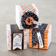 スプーキーファン・スタンプセットとデザイナーシリーズ・ペーパー・ハロウィンナイトをコーディネートすれば、かわいいパッケージがつくれます。