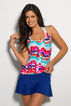 Color bands of white, red, fuchsia, orange, dream blue and turquoise dance across this White Desert Wave Sport #Tankini, new print from our #PalmDesert Collection. #Swimwear www.hapari.com