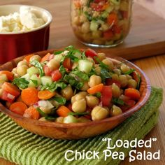 Veg-loaded Chick Pea Salad with a red wine vinegar dressing. veganize with tofu feta