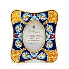 Deruta Vario Celeste Style Picture Frame at Artistica - Italian Ceramics, Deruta and Vietri Dinnerware.