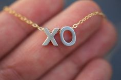 Hugs and Kisses necklace on delicate gold chain by LoveJewelryByJ, $27.00
