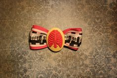 Death Rib Cage Hair Bow  Pink by RiotGearHairBows on Etsy, $8.00
