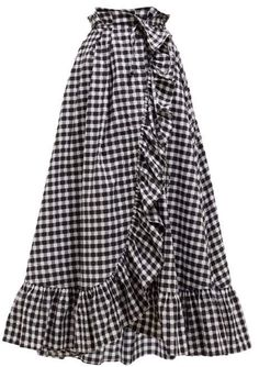 Thierry Colson Tasha Gingham Cotton Midi Wrap Skirt - Womens - Black Multi embarazadas fashion fotos ideas moda diet first yoga fashion fotos outfits tips women Modest Dresses, Modest Outfits, Cute Outfits, Linen Dresses, Muslim Fashion, Modest Fashion, Fashion Dresses, Midi Wrap Skirt, Dress Skirt
