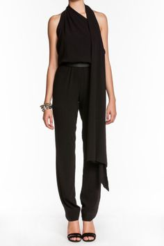 Drape-Front Jumpsuit Black  http://www.isaay.com/Halston-Heritage-Drape-Front-Jumpsuit/HAL-104126,default,pd.html?dwvar_HAL-104126_color=BLK=40=winter_essentials=Price%20%28High%20to%20Low%29
