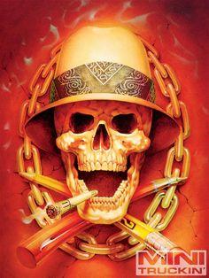 Annual Coast Airbrush Kustom Kulture Show Skull Graphic Chicano Tattoos, Chicano Art, Skull Tattoos, Ear Tattoos, Tattos, Tattoo Studio, Og Abel Art, Arte Lowrider, Brown Pride