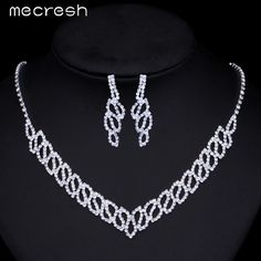 Check lastest price Mecresh Hot Simple Jewelry Sets Silver Color Rhinestone Wedding Accessories Leaves Earrings Necklace Bridal Jewelry Sets TL257 just only $5.21 with free shipping worldwide  #weddingengagementjewelry Plese click on picture to see our special price for you