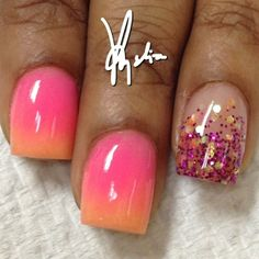 Peach acrylic faded into hot pink acrylic... my next nails without the glitter nail.