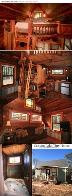 canyon lake tiny house collage ~ 12' x 20' gingerbread cottage with rounded loft bedroom, fascinating step/ladder/shelving, 4' x 4' tub with metal tiled walls, kitchenette with fold-up breakfast table . http://tinytexashouses.com/canyon-lake-tiny-house/
