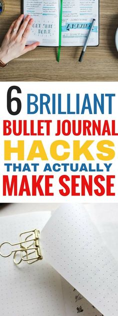 These 6 bullet journal hacks are THE BEST! I'm so glad I found these great bullet journal tips and hacks that actually work! Now I can be more productive when using my bullet journal! Definitely saving for later! #bulletjournal #journal #bulletjournaling #productivity #productive