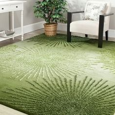 Safavieh Handmade Soho Burst Green New Zealand Wool Rug (3'6 x 5'6') | Overstock.com Shopping - The Best Deals on 3x5 - 4x6 Rugs