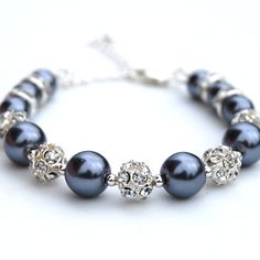 Sparkling Dark Gray Pearl Bracelet, Evening Accessory, Bling Bracelet, Rhinestone and Pearl Jewelry