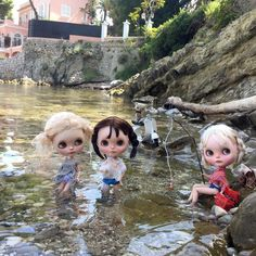 """""""Don't be cross mummy! We're being ever so good really because we're catching fish for dinner!"""" #capferret #placedavidniven #france #fishing #ransilentnight #simonealbergaria #vainilladolly #dewdropteddybears #thelittlemischiefs #kawaii #blythedolls #dollphotography #wet #holiday #mediterranean"""