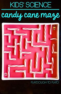 Super cool Kids' Holiday science- a fun diy candy cane maze! A fun way for little elves to practice their coordination and fine motor skills, problem solving and engineering- all those STEM skills during the Christmas season! #Christmas #STEM #PlaydoughtoPlato