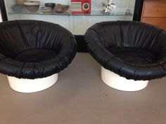 Modern black low slung lounges