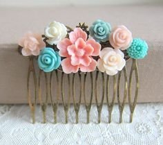 Pink Wedding Comb Turquoise Aqua Hair Comb Pastel Colors Bridesmaid Gift Flower Colorful Floral Head Piece Soft Dreamy via Etsy
